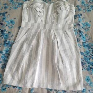 BCBG Grey & White stripped mini dress Size 12